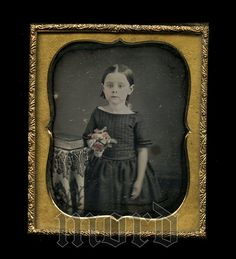 1850s 1/6 Daguerreotype Photo Cute Little Girl Holding by diabolus