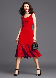 Dolce & Gabbana Women's Clothing Collection Summer 2015 - lady in red, fabulous red dress, lace
