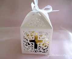 12 pcs, Holy Cross White Favor Boxes for Christening Favors, Baptism Party, First Communion Celebration