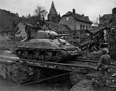 A Sherman tank in Kassel, Germany, in 1945. [Credit Louis Nemeth/U.S. Army Signal Corps]