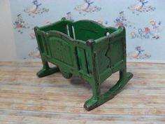 "Kilgore Metal Dollhouse Furniture - Rare Rocking Cradle - Green Enamel 3/4"" Scale- $65"
