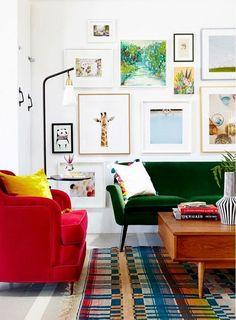 white walls + bright mid mod furniture