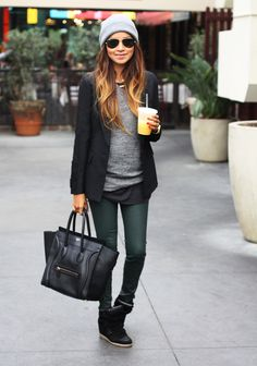 Casual chic.  Forest green jeans.