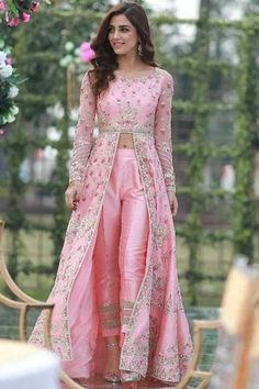 Luxurious Pink Cigarette Pant Suit With Resham WorkYou can find Designer dresses indian and more on our website.Luxurious Pink Cigarette Pant Suit With Resham Work Party Wear Indian Dresses, Indian Bridal Outfits, Indian Gowns Dresses, Indian Fashion Dresses, Dress Indian Style, Indian Designer Outfits, Fashion Clothes, Party Wear Lehenga, Bridal Dresses
