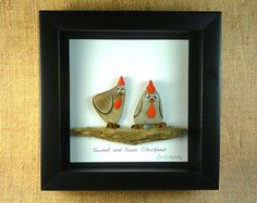 ***SUNNY SIDE UP ***  THE ONE THING I LOVE IS TO CREATE ARTWORK THAT MAKE PEOPLE SMILE.  This humorous shadow box is 6 X 6 and is a one of a kind.  Its made of carefully selected river rocks and painted with acrylics and sculpted with polymer clay. I use actual River Rocks.  Its signed and copyrighted by me and it is ready to hang on the wall.