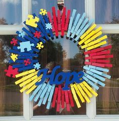 Autism Hope Wreath by SarahsSweetThings on Etsy