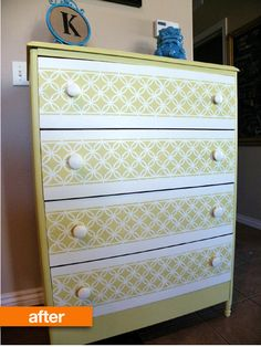 This $10 chest of drawers became a gem of a dresser with the addition of legs, a cool yellow paint job and the coup de grace, a bold stencil on the drawer fronts. The stencil is a pattern from Martha Stewart she purchased at Michael's.