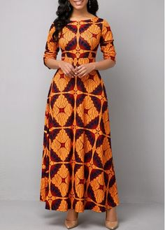 Long Sleeve Boat Neck Tribal Print Maxi Dress in 2020 (With images) Long African Dresses, Latest African Fashion Dresses, African Print Dresses, African Print Fashion, Women's Fashion Dresses, Latest Dress, Africa Fashion, India Fashion, Asian Fashion