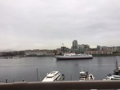 Victoria BC Harbor -- the view from our hotel room of the ferry that brought us