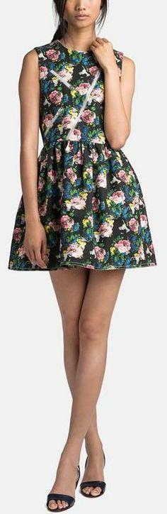MSGM Zip Detail Rose Print Dress