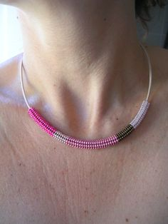 mine-only-mine Ndebele (herringbone) stitch minimalist necklace in orchid pink, blush pink, pink lilac, dark bronze and alabaster
