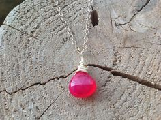 Pink Chaceldony, Sterling Silver, Semi Precious Gemstone, Wire Wrapped, Pendant Necklace Gift for Her. by BlueLaceSilver on Etsy