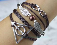 Brown jewelry wings and infinite charm bracelet harry by Carlydiy, $5.99