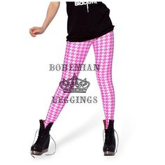 Pink Houndstooth Leggings (€18) via Polyvore featuring pants, leggings, print leggings, pink leggings, houndstooth leggings, leggings pants and patterned pants