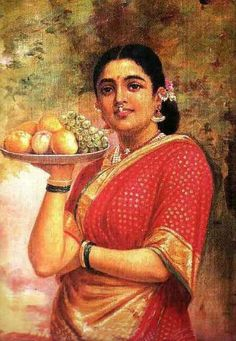 Painting: ' The Maharashtrian Lady;' Artist Raja Ravi Varma