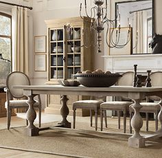 RH's 17th C. Monastery Rectangular Dining Table:Balustrade tables like these were once part of life in medieval, 17th-century monasteries. Today, our reproduction is true to the original's hand-hewn style and trestle design.