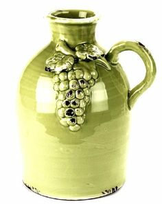 Napa Home & Garden Tuscany Collection 12-1/4-Inch Decorative Ceramic Jug with Handle by Napa Home & Garden. $48.99. Handcrafted by skilled artisans, each piece is an original and varies slightly in size and color. Decorative ceramic jug with grape design and single handle. Hand wash. Jug is approximately 12-1/4-inch tall and 10-1/4-inch by 8-1/4-inch. Celery Green antiqued finish. From Napa Home & Garden's Tuscany Collection, Celery Green colored glazed cerami...