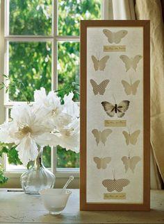 Tableau de papillons en papier et en plumes comme une planche scientifique