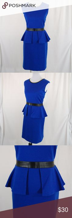 """Limited Peplum Dress w/ Faux Leather Royal blue dress w/ black faux leather details at waist & neckline. Super flattering and perfect for work, cocktail parties, weddings and more!   Some stretch to the fabric. Medium weight. Unlined. Back zipper.  Very flattering. Peplum waist under black mock belt. Good condition with some pilling and faint deodorant marks under arms (see photo - hard to even tell).  Approximate measurements (taken flat): Length (shoulder to hem) = 39"""" Bust = 20"""" Waist…"""