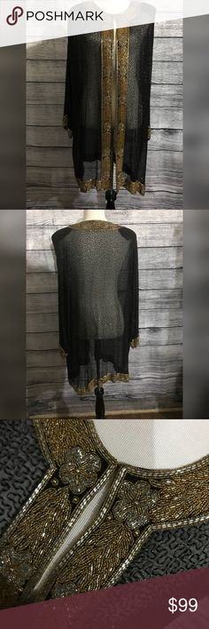 Vintage Evening Beaded 100% Silk Shawl Size L/XXL Vintage Mode Exclusive Mehra Munchen Evening Black and Gold Beaded 100% Silk Shawl Fits Size L/XL/XXL measurements included in pics start with  Armpit to Armpit Armpit to bottom Hem  Armpit to Bottom Sleeve Mode Exclusive Mehra Munchen Other