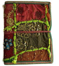 Hand Stitched JournalBlank BookGoldBrownOrange by IndianJournals