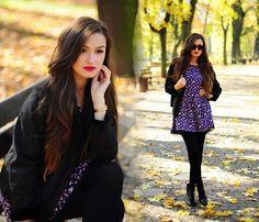 Magdalena S - Sinsay Dress, Sinsay Jacket - Red lips & Floral dress