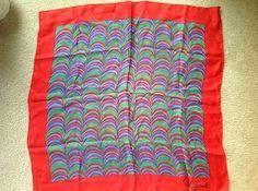 Schiaparelli Watermelon Silk scarf with red border Vintage