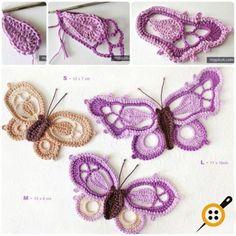 Design your attires with Crochet Butterfly Pattern crochet butterfly pattern picot crochet butterfly free pattern iosqncf Picot Crochet, Crochet Amigurumi, Crochet Motifs, Freeform Crochet, Thread Crochet, Crochet Crafts, Crochet Projects, My Picot, Doilies Crochet