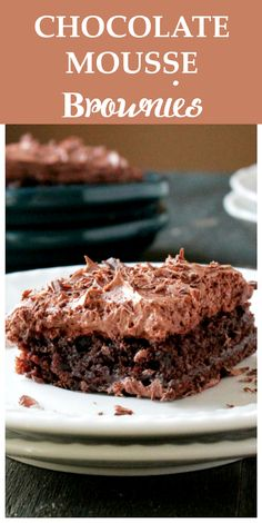 Chocolate Mousse Brownies - Fudgy brownie squares topped with a creamy, delicious chocolate mousse. Incredible little treats!