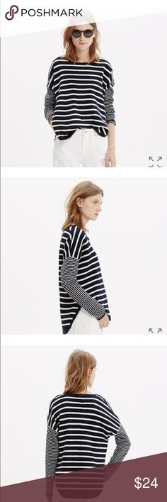 Madewell striped curved hem sweater New. In a mix of nautical stripes, this easy curved-hem sweater is substantial enough to stand in for a jacket while the weather figures out what it wants to do.    Slightly oversized fit with structured body. Cotton/wool slub. Hand wash. Import. Item C0359. Madewell Sweaters
