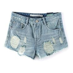 LUCLUC Blue Ripped Denim Shorts ($21) ❤ liked on Polyvore