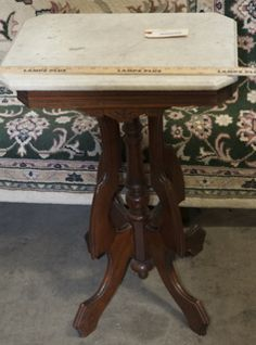 EASTLAKE SIDE PARLOR TABLE WITH MARBLE TOP. THE TOP IS REMOVABLE. 28 IN. H X 20 IN. W