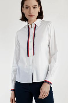This blouse has a shirt collar, long sleeves, and button fastening at the front. It has button fastening and cuffs embellished with pleated trim. The striped trim adds a retro element to this classic shirt. White Cotton, Bomber Jacket, Coat, Long Sleeve, Sleeves, Jackets, Shirts, Shopping, Cuffs