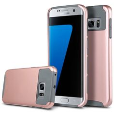 S7 Edge Case,ARMORCOO(TM) Lightweight Slim Fit Hard Rugged PC Shell with Soft Honeycomb TPU Bumper Hybrid Dual Layer Armor Denfender Case Cover for Samsung Galaxy S7 Edge (Gray/Rose Gold) * You can get additional details at the image link.