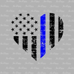 Blue Line Distressed Heart, SVG DXF EPS , Police heart Design, law enforcement  file, svg file for Cricut, Silhouette svg, cutting file, by JenDzines on Etsy