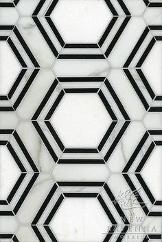 geometric tiles Pembroke, a natural stone waterjet mosaic shown in Calacatta Tia, Thassos and Nero Marquina honed, is part of the Silk Road Collection by Sara Baldwin for New Ravenna Mosaics. Copyright New Ravenna ® Hexagon Tiles, Marble Tiles, Geometric Tiles, Tiling, Mosaic Tiles, Marble Art, Hexagon Tile Bathroom Floor, Honeycomb Tile, Tiles Uk