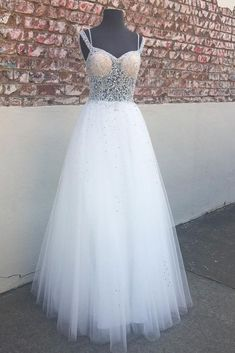 White sweetheart neck tulle beads long prom dress, white evening dress