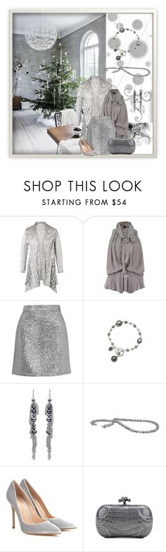 """Silver and Pearls"" by honkytonkdancer ❤ liked on Polyvore featuring Komar, Chesca, Topshop, Gianvito Rossi, Bottega Veneta, Christmas, HolidayParty and pearlcollective"