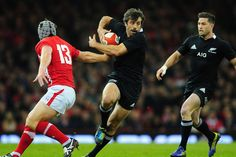 New Zealand All Blacks centre Conrad Smith runs at the Wales defence during the International Match between Wales and New Zealand. Rugby 7's, International Rugby, All Blacks, All Black Everything, My Passion, Wales, Centre, Mad