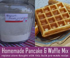 Recipe for homemade bulk pancake and waffle mix. We also share healthier and gluten-free modifications.  Stop buying Krusteaz or other store-bought versions of pancake and waffle mix.  It is so easy to make your own and have fluffy, yummy breakfast mixes available when you want and for a fraction of the price.