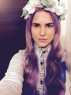 Purple hair, flower headband