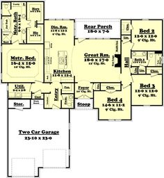 House Plan 041-00084 - Traditional Plan: 2,175 Square Feet, 4 Bedrooms, 2.5…