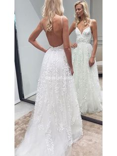 Romantic A-Line Sweetheart Spaghetti Straps Backless White Lace Wedding Dresses,Beach Wedding Gown - vestidos de novia - Hochzeitskleid Lace Bridal, White Lace Wedding Dress, Elegant Wedding Dress, Elegant Dresses, Sexy Dresses, Bridal Gowns, Wedding White, Dream Wedding, Floral Wedding