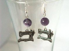 Sewing Machine Charm Earrings with Purple Amethite and by Pookledo, £4.00