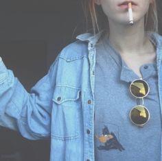 pale grunge; denim jacket; vintage sunnies; graphic shirt; grunge fashion; teen style