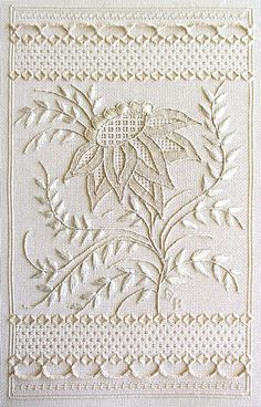 Whitework 'Flower of the Raj' ~ design adapted from an early 19th century whitework piece made in India for the English women living there ~ whitework embroidery kit by Gay Ann Rogers Needlework ~ AnnexRaj