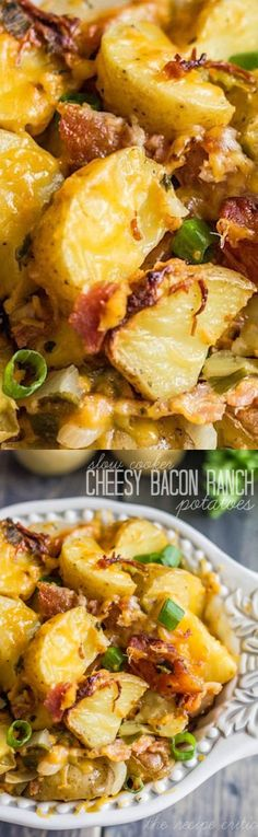 1/2 lb Bacon. 1/2 cup Green onions. 1 Onion, large. 4 Potatoes or 6-8 small red or yellow potatoes, Medium sized. 1 package Ranch seasoning packet, dry. 2 tbsp Butter. 2 1/2 cups Cheddar cheese.
