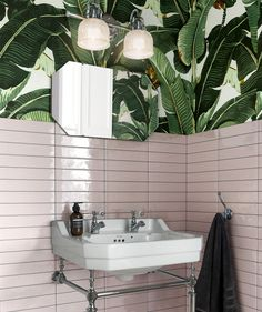 A pink and green scheme we can get behind: tropical wallpaper spotted alongside Artisau Gloss Pink Tile by Topps Tiles. Modern Bathroom, Small Bathroom, Bathroom Ideas, Navy Bathroom, Bathroom Plans, Ikea Bathroom, Bathroom Inspo, Master Bathroom, Topps Tiles
