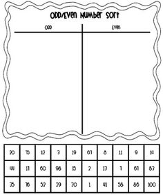 Odd/Even Number Sort - Numbers up to 100, you know that they love the cut and paste activity