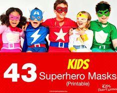 43 Printable Kids Superhero Masks. Fun for everyone! KidsPartyWorks on Etsy Printable Halloween Masks, Printable Masks, Homemade Halloween Costumes, Party Printables, Superhero Party, Holiday, Fun, Kids, Etsy